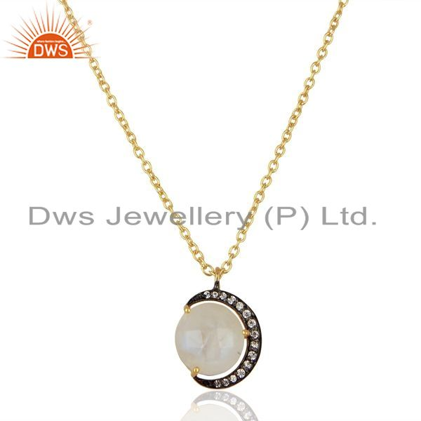 Exporter Rainbow Moonstone CZ 14K Gold Plated 925 Sterling Silver Chain Pendant Jewelry