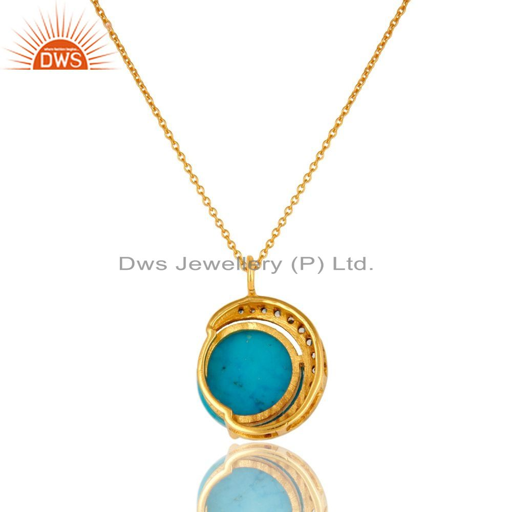 Exporter 14K Gold Plated Sterling Silver CZ And Turquoise HAlf Moon Pendant With Chain