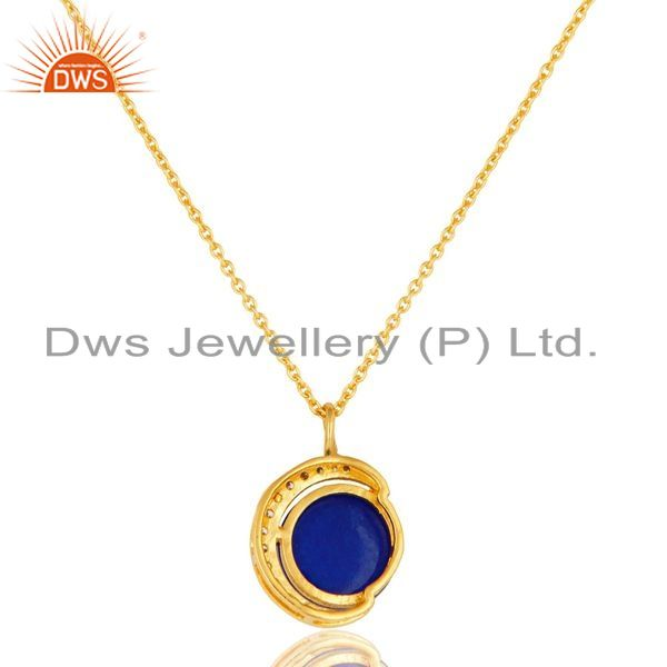 Exporter 18K Gold On Sterling Silver Blue Aventurine And CZ Half Moon Pendant With Chain