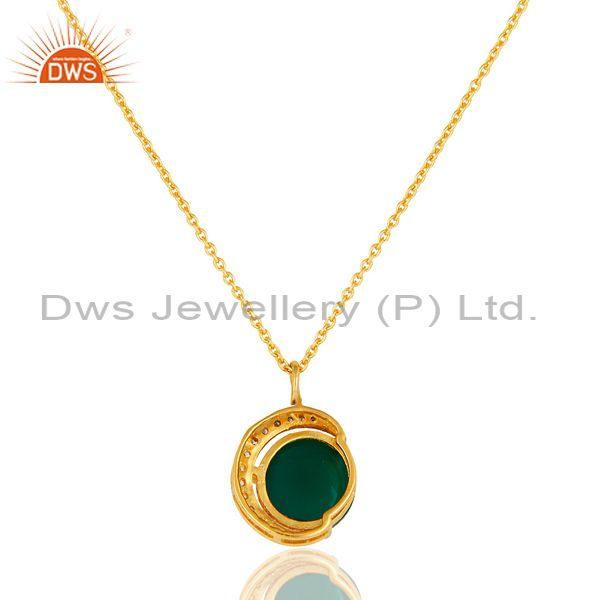 Exporter Green Onyx & CZ 18K Gold Plated Sterling Silver Half Moon Pendant With Chain