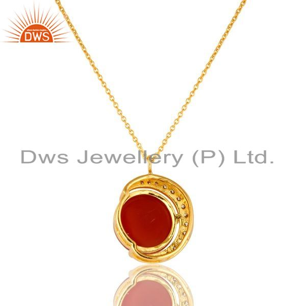 Exporter 18K Yellow Gold Plated Sterling Silver Red Onyx And CZ Half Moon Pendant Chain