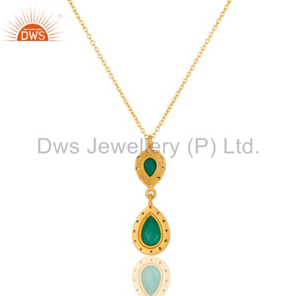 Exporter Green Onyx and White Topaz 18K Gold PLated Sterling Silver Gemstone Necklace