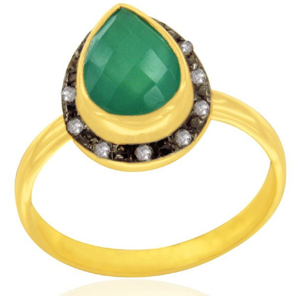Exporter Artisan Crafted 18K Gold Over 925 Silver Green Onyx Gemstone & White Topaz Ring