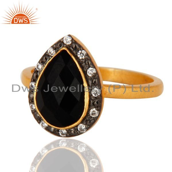 Exporter 925 Sterling Silver Black Onyx Gemstone 22K Gold Plated Ring With Zircon