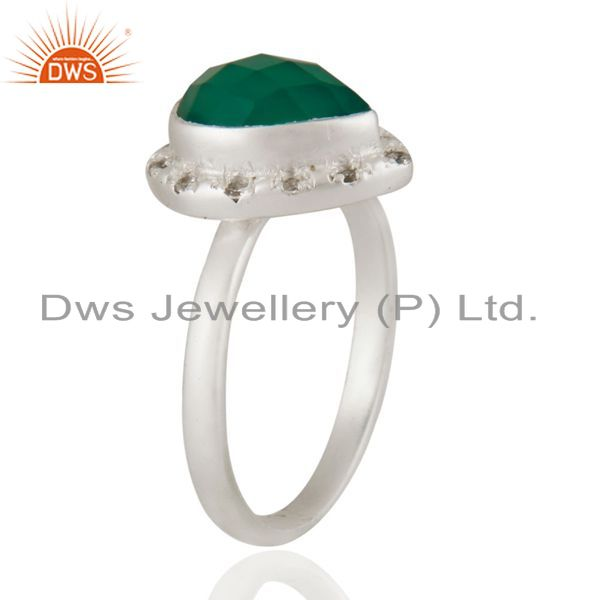 Exporter Handmade 925 Sterling Silver Natural Green Onyx Gemstone Ring With White Zircon