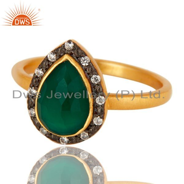 Exporter 18K Yellow Gold Plated Sterling Silver Green Onyx And CZ Stackable Ring