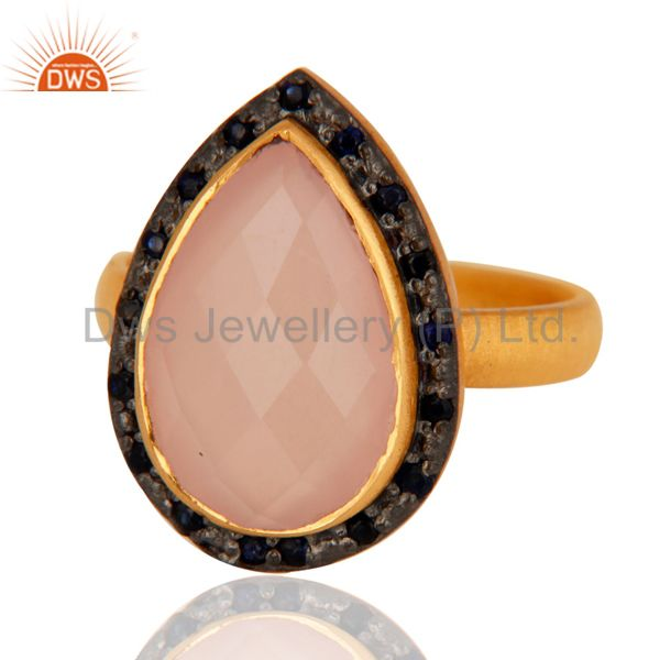 Exporter Natural Gemstone Rose Quartz And Blue Sapphire 925 Sterling Silver Ring Jewelry