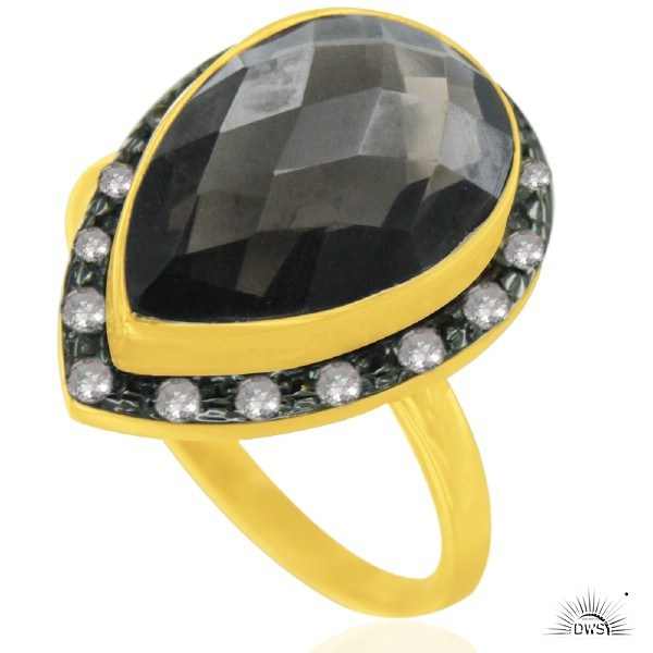 Exporter 14K Yellow Gold Plated Sterling Silver Smoky Quartz And White Topaz Drop Ring