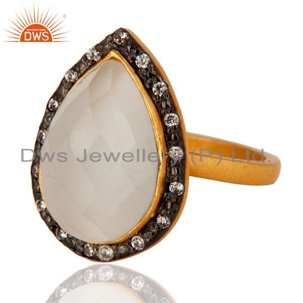 Exporter Natural White Moonstone Sterling Silver Gold Plated Gemstone Ring With CZ