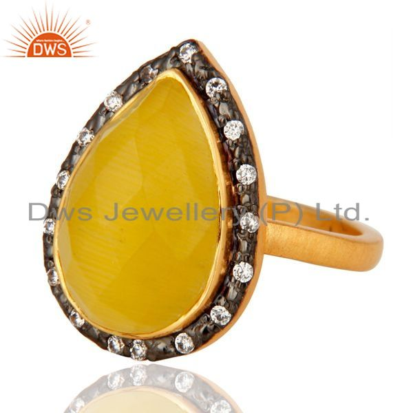Exporter 925 Sterling Silver Yellow Moonstone Gemstone Jewelry Ring With 24K Gold Plated