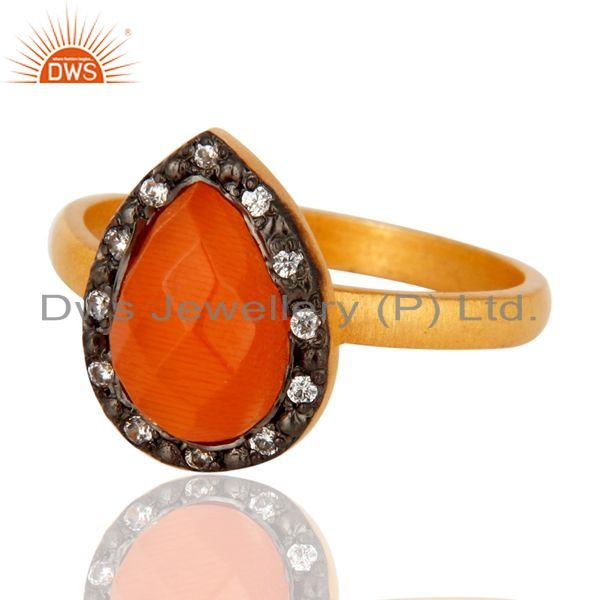 Exporter Handmade 22K Gold Plated Sterling Silver Peach Moonstone Ring With CZ