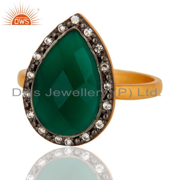 Exporter Handmade 18k Gold Plated Sterling Silver Green Onyx Gemstone Ring With CZ