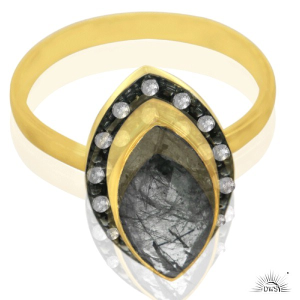 Exporter 18K Gold Plated 925 Sterling Silver Tourmalated Quartz Ring With Topaz White