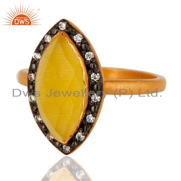 Exporter 22K Gold Plated 925 Sterling Silver Yellow Moonstone & CZ Designer Ring
