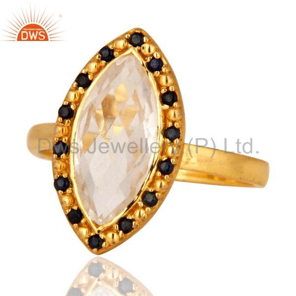 Exporter Solid 925 Sterling Silver Blue Sapphire & Crystal Quartz Gold Plated Ring Size 8