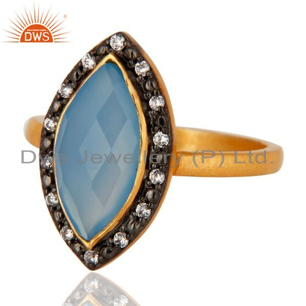 Exporter Designer Gold Plated Sterling Silver Blue Chalcedony Gemstone Ring With cz