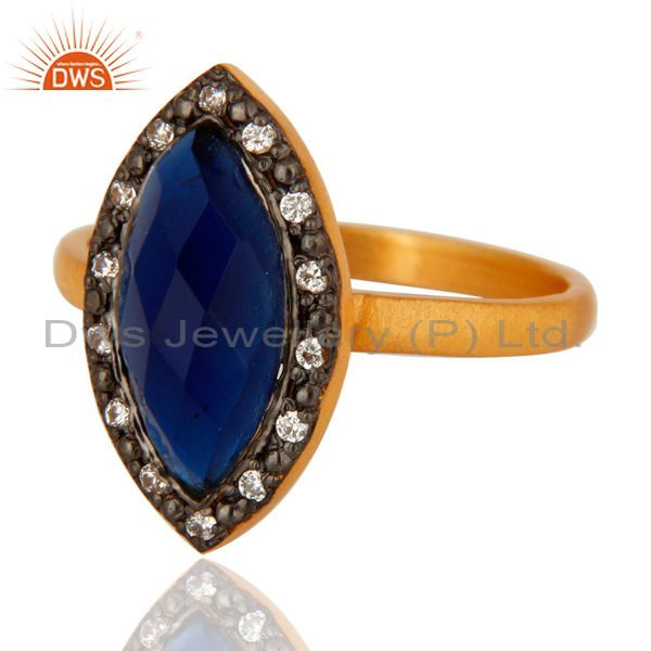 Exporter Blue Corundum Womens Fashion Ring With CZ Made In 14K Gold Over Sterling Silver