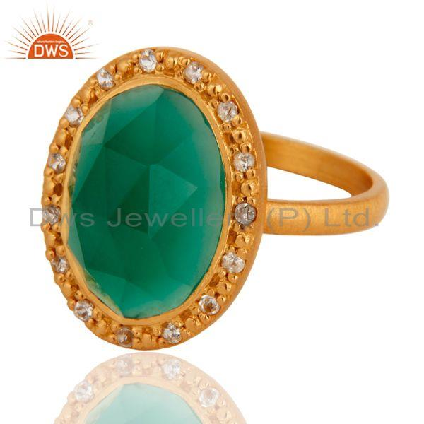 Exporter 24k Yellow Gold Plated Green Onyx and White Topaz Sterling SIlver Cocktail Ring