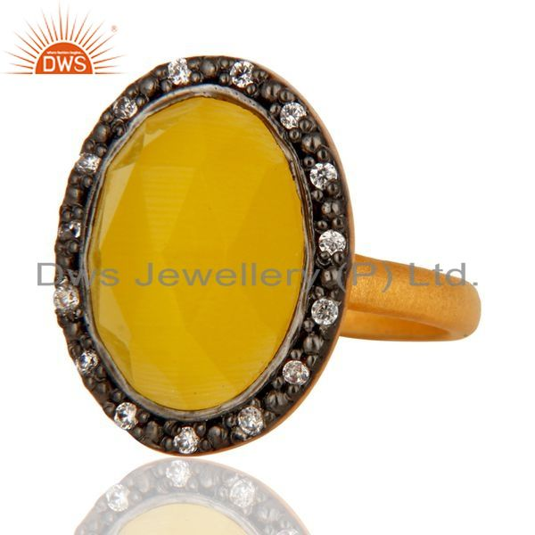 Exporter 24k Gold Plated Sterling Silver Moonstone Gemstone Ring With CZ