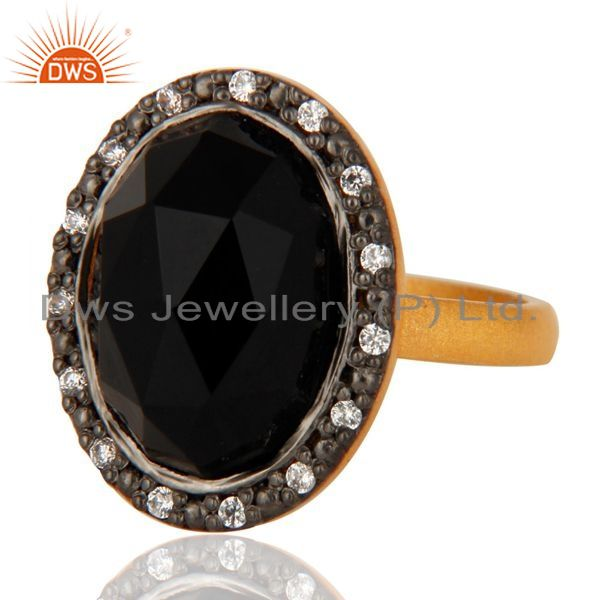 Exporter 925 Sterling Silver Natural Black Onyx Gemstone Ring With 24K Gold Plated