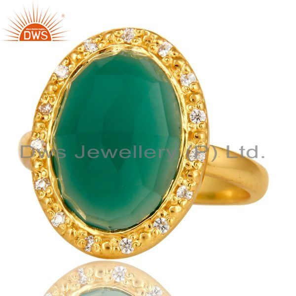 Exporter 18K Yellow Gold Plated Sterling Silver Green onyx And CZ Statement Ring