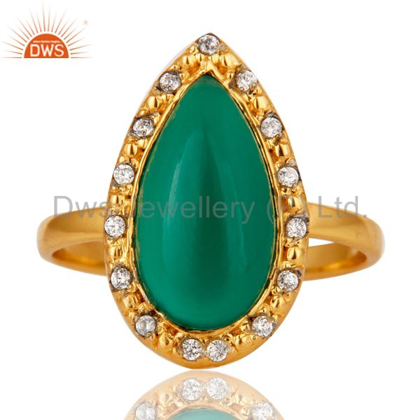 Exporter Green Onyx and White Zircon 18K Gold Plated Handmade Statement Ring