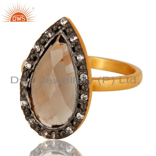 Exporter 18K Gold Plated Sterling Silver Smoky Quartz And CZ Statement Stack Ring