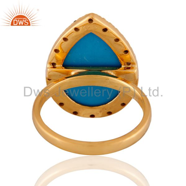 Exporter 18k Gold Plated Turquoise Gemstone Blue Sapphire Sterling Silver Ring SZ 7