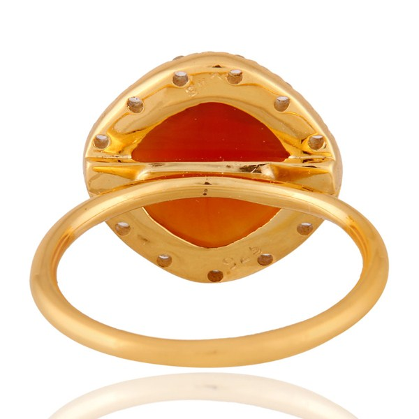 Exporter 18K Gold Plated Sterling Silver Red Onyx And White Topaz Stack Ring