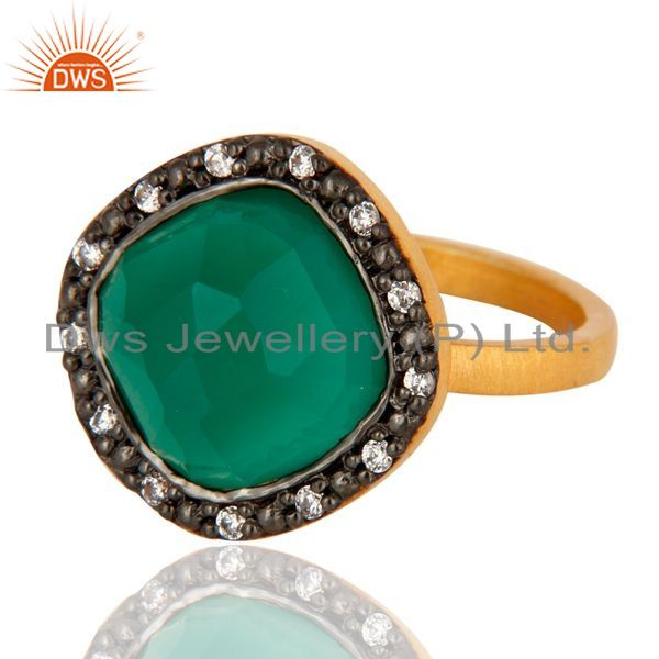 Exporter Green Onyx Gemstone 22K Yellow Gold Plated 925 Sterling Silver Ring With CZ