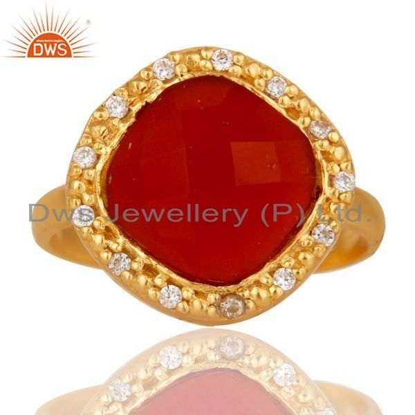 Exporter White Zircon & Red Onyx Semi Precious Stone Sterling Silver 18k Gold GP Ring
