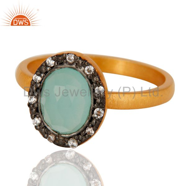 Exporter 18K Yellow Gold Plated 925 Sterling Silver Blue Aqua Glass & White Zircon Ring