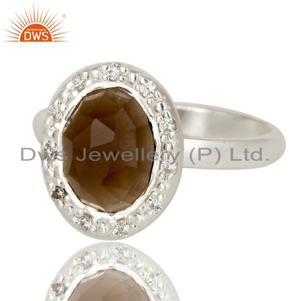 Exporter Solid Sterling Silver Smoky Quartz And CZ Statement Ring