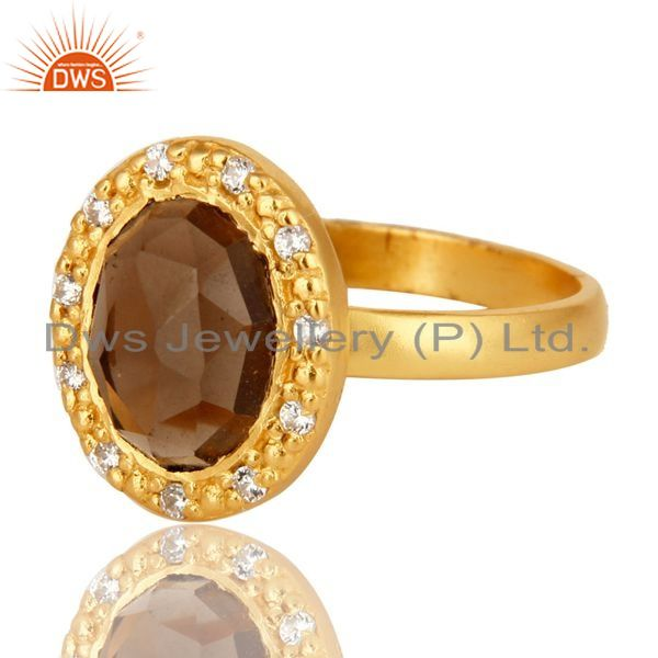 Exporter 18K Gold Plated Sterling Silver Smoky Quartz And CZ Statement Ring