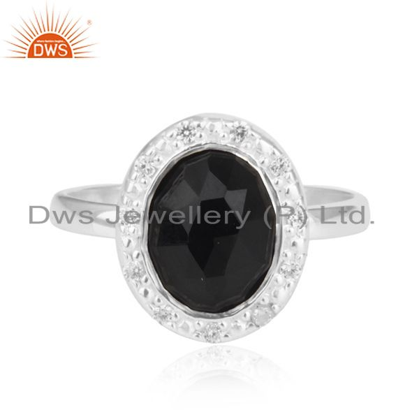 Exporter Stunning 24k Gold Plated Smoky Quartz 925 Sterling Silver White Zircon Ring