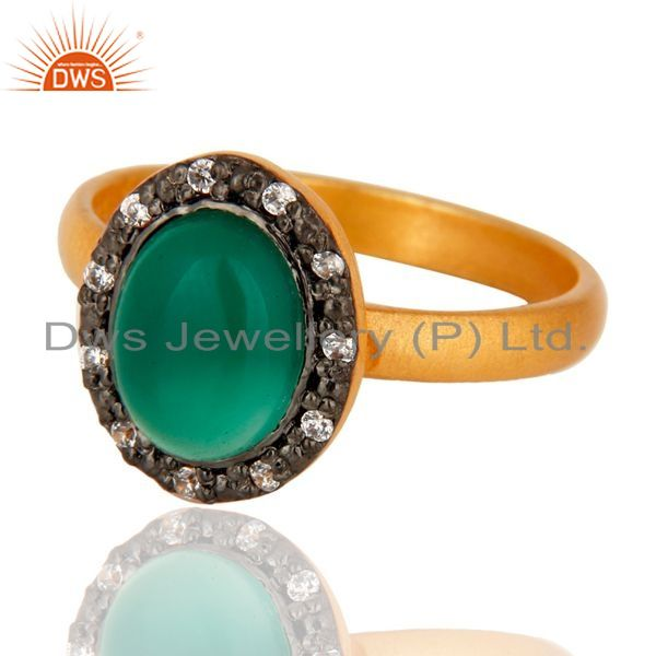 Exporter 18K Yellow Gold Plated 925 Sterling Silver Green Onyx Gemstone Ring With CZ