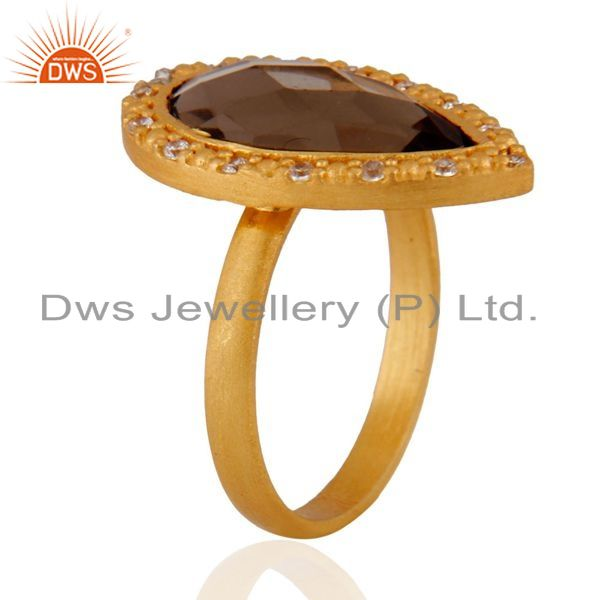 Exporter Smoky Quartz And Cubic Zirconia Sterling Silver Ring - Gold Plated