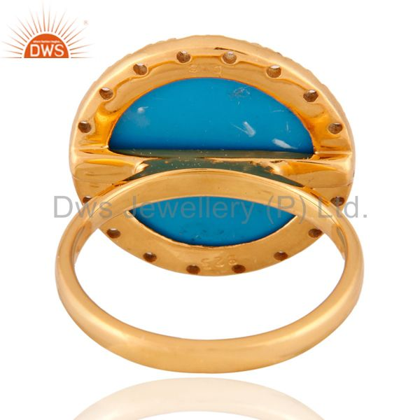 Exporter 18k Gold Plated Turquoise Gemstone & White Zircon 925 Sterling Silver Ring SZ 7