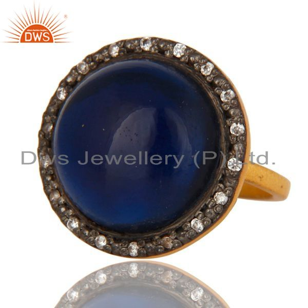 Exporter 18K Yellow Gold Plated Sterling Silver Blue Corundum Cocktail Ring With CZ