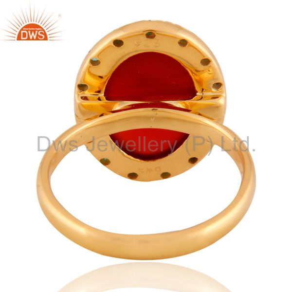 Exporter 24K Gold Plated Red Onyx Semi Precious Stone 925 Sterling Silver Emerald Ring
