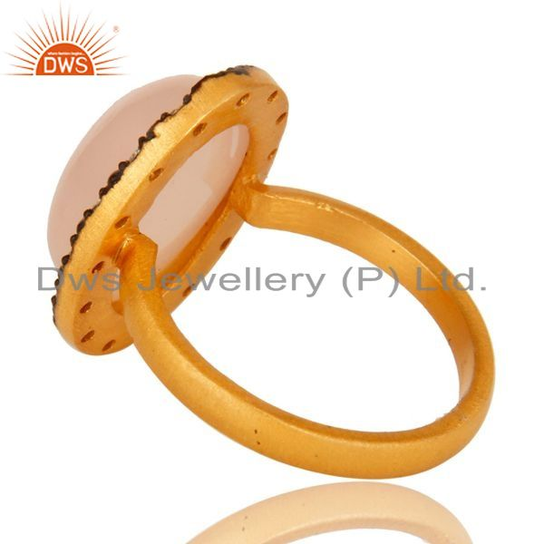 Exporter 18K Gold Plated Sterling Silver Rose Chalcedony And CZ Statement Stacking Ring
