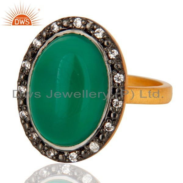 Exporter Handmade Green Onyx Cabochon Gemstone 925 Sterling Silver 24k Gold Plated Ring