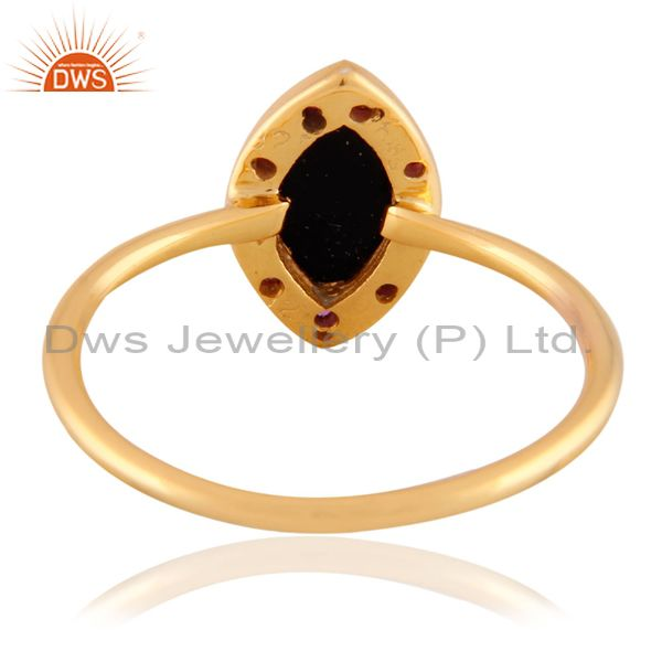 Exporter 18k Gold Plated Black Onyx Gemstone 925 Sterling SIlver Ruby Stackable Ring