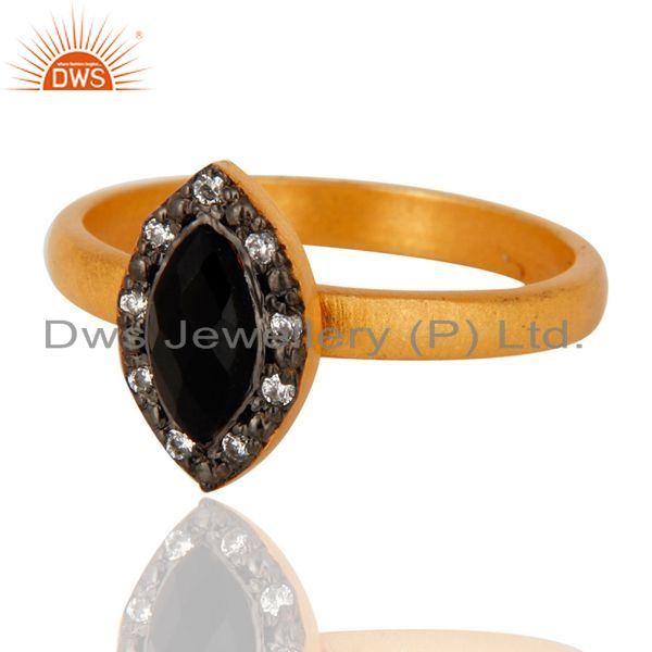 Exporter 925 Sterling Silver Black Onyx & Cz Gemstone Handmade Designer Ring Gold Plated