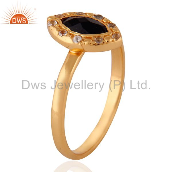 Exporter White Topaz Gemstone Onyx 925 Sterling Silver Yellow Gold Plated Stackable Ring