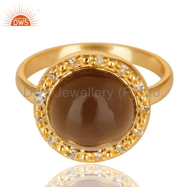 Exporter 14K Gold Plated 925 Sterling Silver Smokey Topaz & White Topaz Cocktail Ring