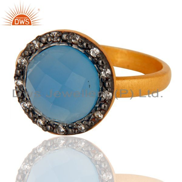 Exporter 22K Gold Plated 925 Sterling Silver Blue Aqua Chalcedony Gemstone Ring With CZ
