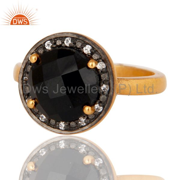 Exporter Black Onyx CZ Accent Sterling Silver Solitaire Promise Ring With Gold Plate