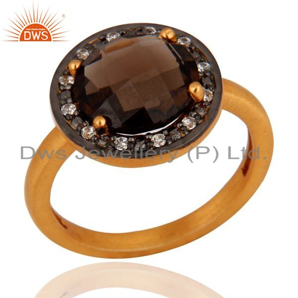 Exporter 18K Gold Over Sterling Silver Prong Set Smoky Quartz And Cubic Zirconia Ring