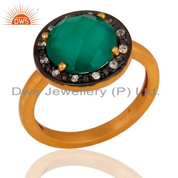 Exporter 18K Gold Over Sterling Silver Green Onyx Gemstone Prong Setting Ring With CZ